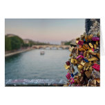 Lovely Evening Sky in Paris with Love Locks Greeting Card
