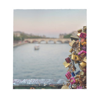 Lovely Evening Sky in Paris with Love Locks Notepad