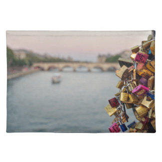 Lovely Evening Sky in Paris with Love Locks Placemat