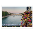 Lovely Evening Sky in Paris with Love Locks Postcard
