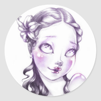 Lovely face classic round sticker