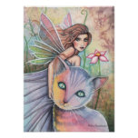 Lovely Fairy with Cat Poster by Molly Harrison