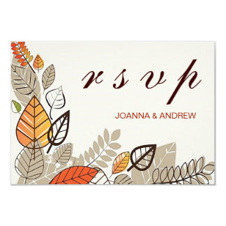 Lovely Fall Event Wedding RSVP/Orange Taupe Brown Card