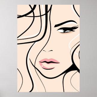 Lovely female face poster