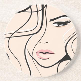 Lovely female face sandstone coaster