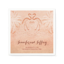 Lovely flamingo couple beach wedding paper napkins