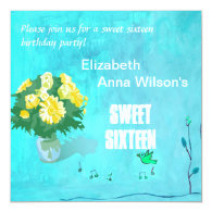 Lovely floral bouquet sweet sixteen birthday party custom announcement