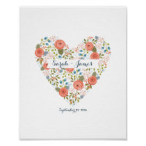 Lovely Floral Dream Heart Personalized Wedding Art Poster