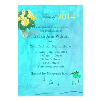 Lovely floral graduation party invitation invite