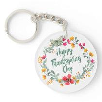 Lovely Floral Happy Thanksgiving | Keychain