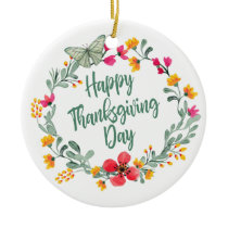 Lovely Floral Happy Thanksgiving | Ornament