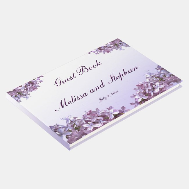 Lovely Floral Lilac Flowers Wedding Guest Book