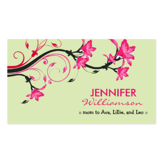 Lovely Floral Mommy Calling Card :: green/pink