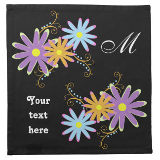 lovely floral Monogram , personalized napkins
