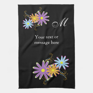 lovely floral Monogram , personalized towels