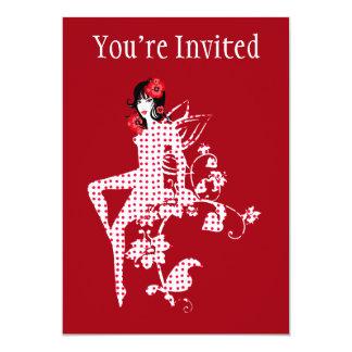 "Lovely Floral Retro Polka Dot Fairy 5"" X 7"" Invitation Card"