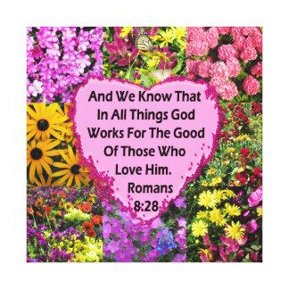 LOVELY FLORAL ROMANS 8:28 BIBLE VERSE CANVAS PRINT