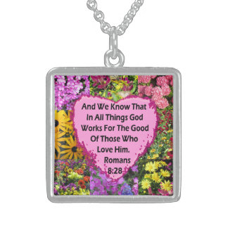 LOVELY FLORAL ROMANS 8:28 BIBLE VERSE STERLING SILVER NECKLACE