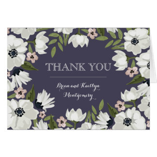 Lovely Floral Thank You Note Card - purple