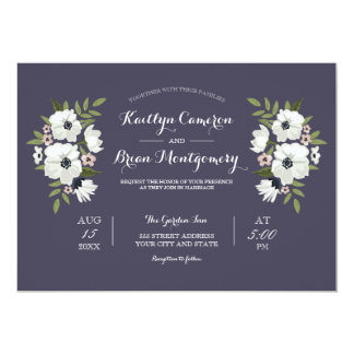Lovely Floral Wedding Invitation -purple