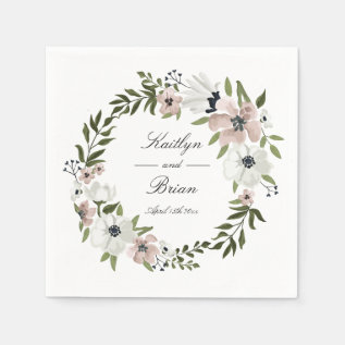 Lovely Floral Wedding Napkin at Zazzle