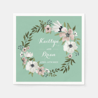 Lovely Floral Wedding Napkin - mint