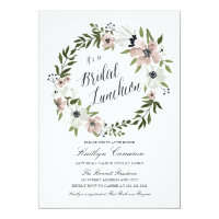 Lovely Floral Wreath- Bridal Luncheon Invitation