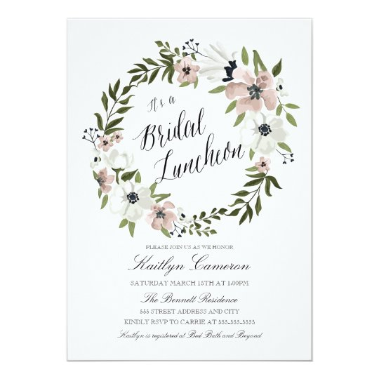 lovely floral wreath bridal luncheon invitation zazzle com