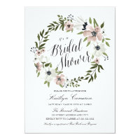 Lovely Floral Wreath- Bridal Shower Invitation