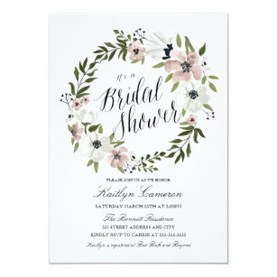 lovely floral wreath bridal shower invitation