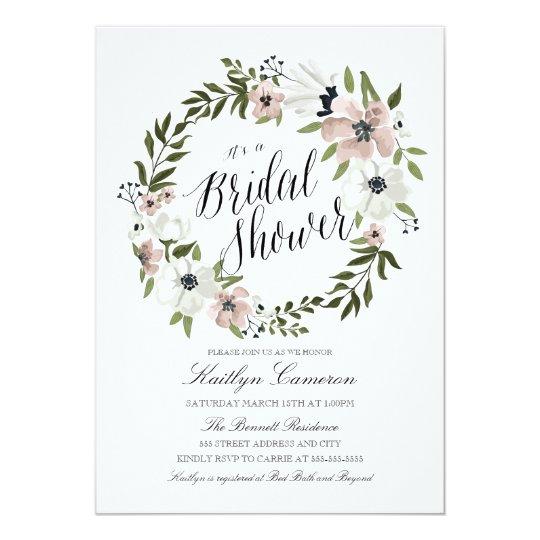 Lovely Floral Wreath Bridal Shower Invitation Zazzlecom