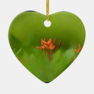 Lovely flower in the world Double-Sided heart ceramic christmas ornament