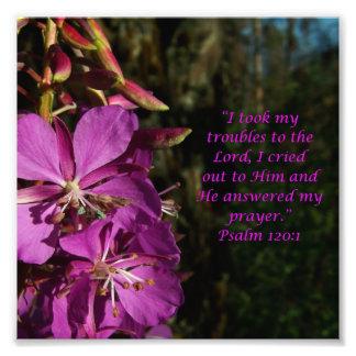 Lovely Flower Scripture Psalm 120:1 Photo Print
