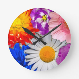 lovely flowers,blue round clock