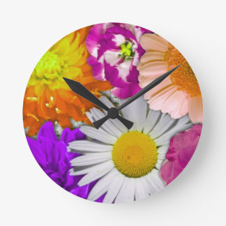 lovely flowers,purple round clock