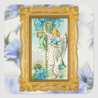 Lovely Forget Me Not Angel Square Sticker