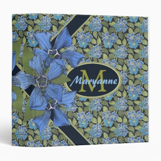 Lovely Forget me not Wildflowers Monogram 1.5 Inch