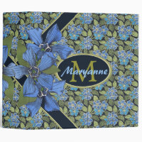 Lovely Forget me not Wildflowers Monogram 3 Inch 3 Ring Binder