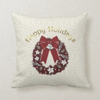 Lovely Formal Christmas Holiday Wreath - Personali Throw Pillow