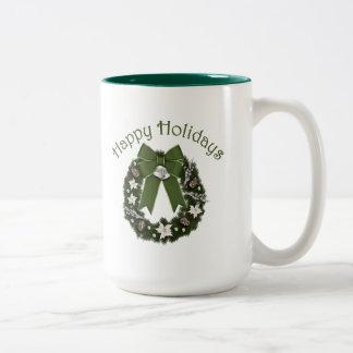 Lovely Formal Christmas Wreath GREEN Two-Tone Coffee Mug