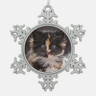 Lovely Funny Cute Fluffy Kitty Cat Decoration Snowflake Pewter Christmas Ornament