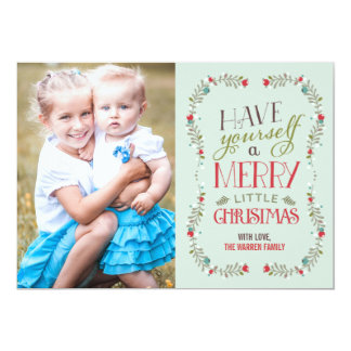 Lovely Garlands Christmas Photo Card - Light Blue
