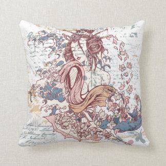 lovely geisha girl and flowers throw pillow