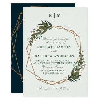 lovely geometric floral wreath wedding invitation