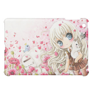 Lovely girl on the pink flowers field cover for the iPad mini