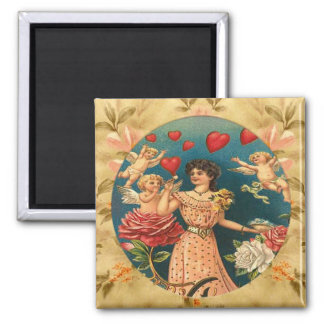 Lovely Girl with Cupids Vintage Custom Magnet