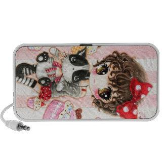 Lovely girl with cute black cat - Doole Speaker