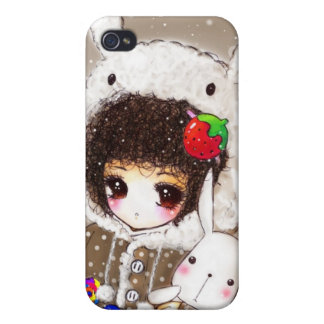 Lovely girl with her bunny in winter night iPhone 4 cover