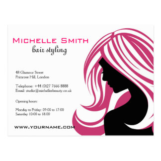 Lovely girl with pink hair Hairstyling branding Postcard