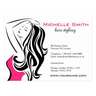 Lovely girl with wavy hair Hairstyling branding Postcard
